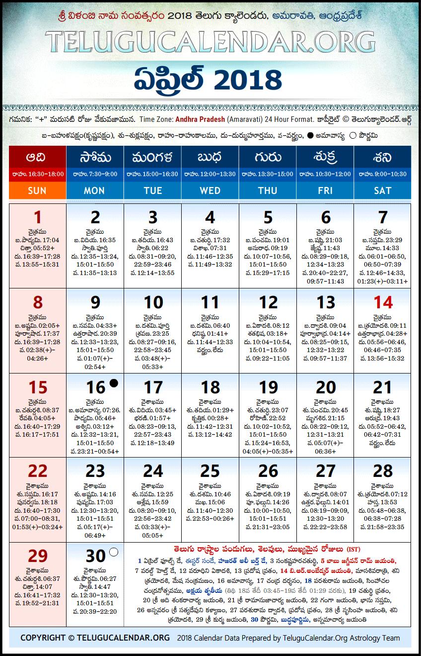 Andhra Pradesh   Telugu Calendars 2018 April