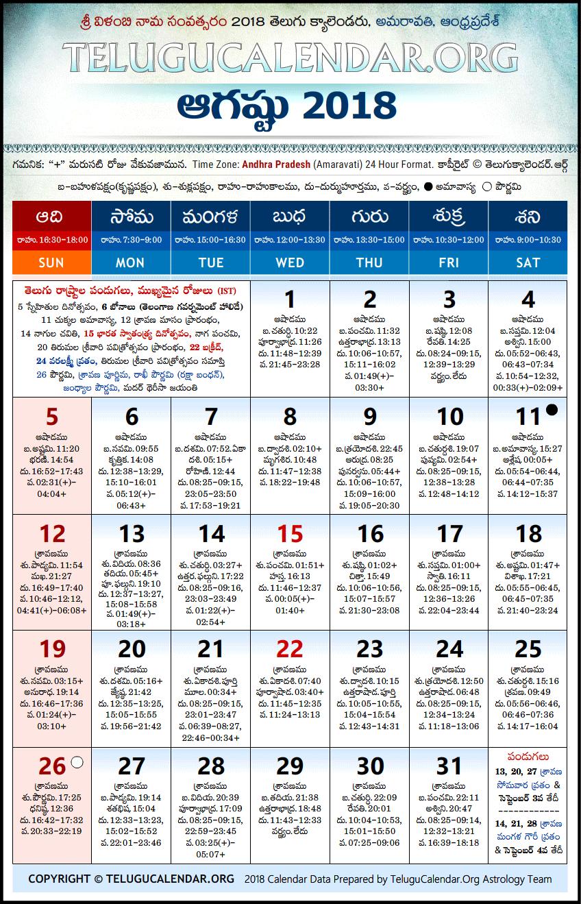 Andhra Pradesh | Telugu Calendars 2018 August