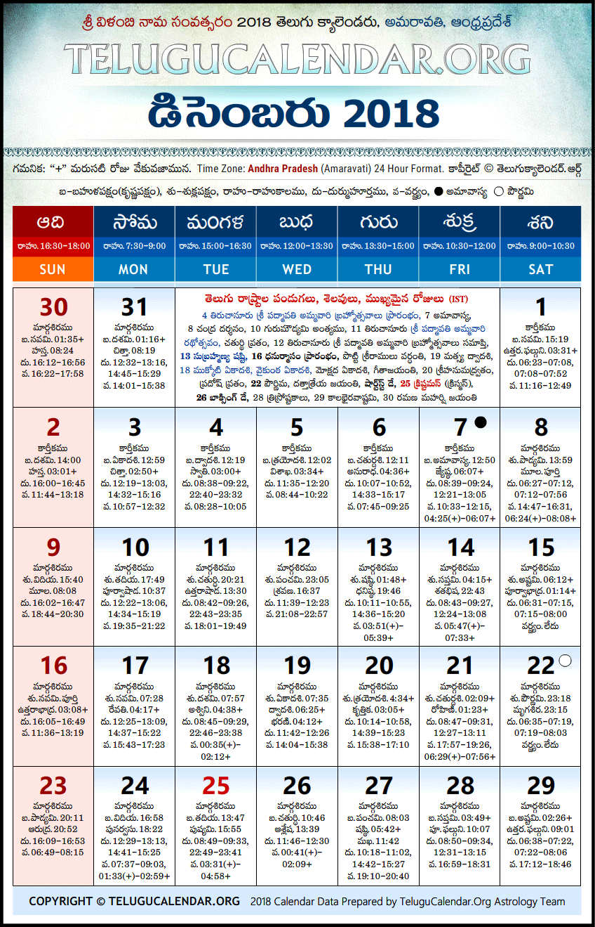 Andhra Pradesh Telugu Calendars 2018 December