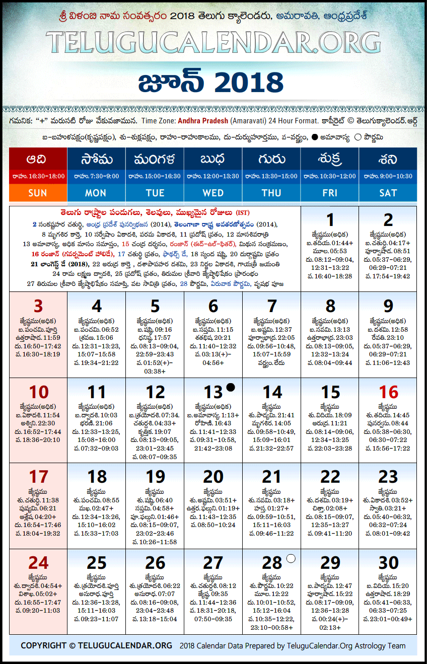 Andhra Pradesh | Telugu Calendars 2018 June