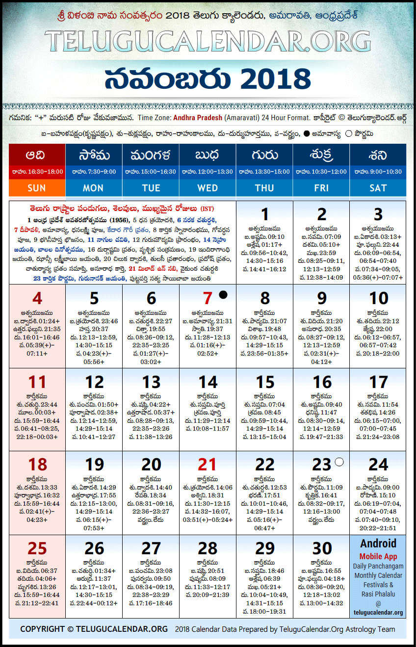Andhra Pradesh | Telugu Calendars 2018 November