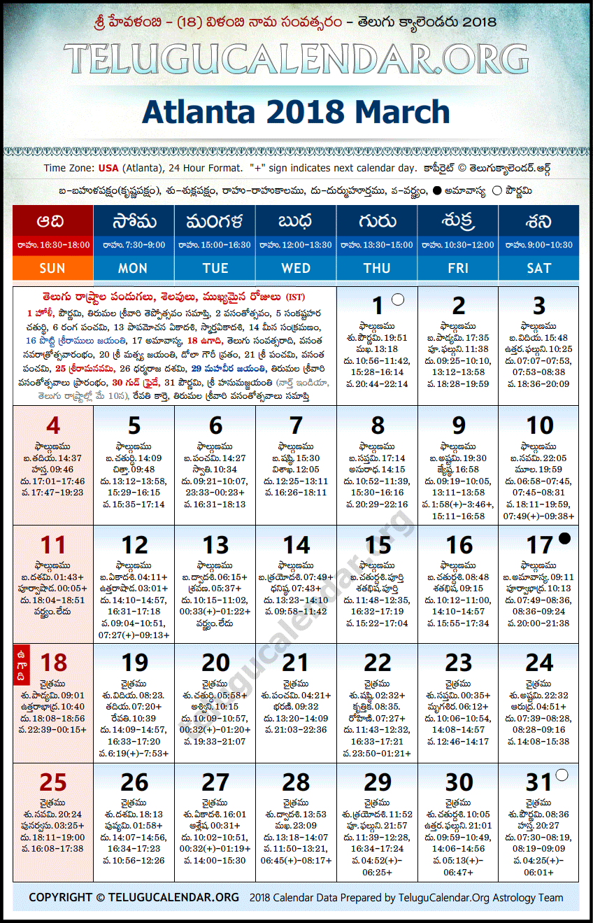 Telugu Calendar 2018 March, Atlanta