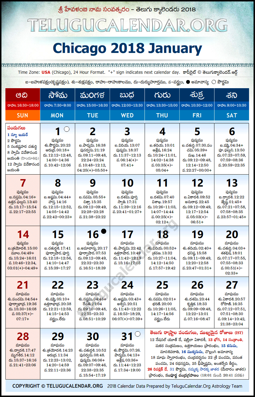 Telugu Calendar 2018 January, Chicago