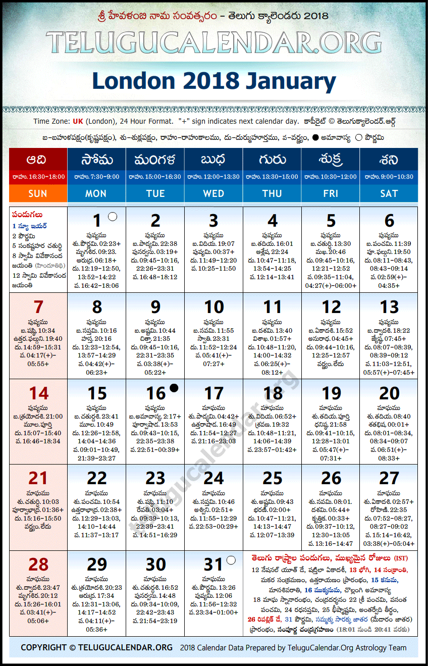 Telugu Calendar 2018 January, London