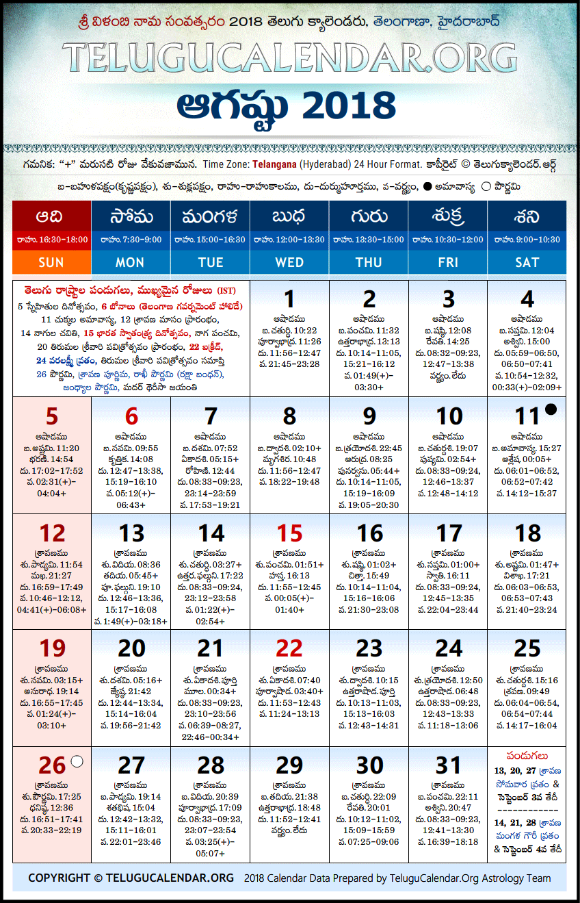 March 2018 Calendar Telugu Festivals