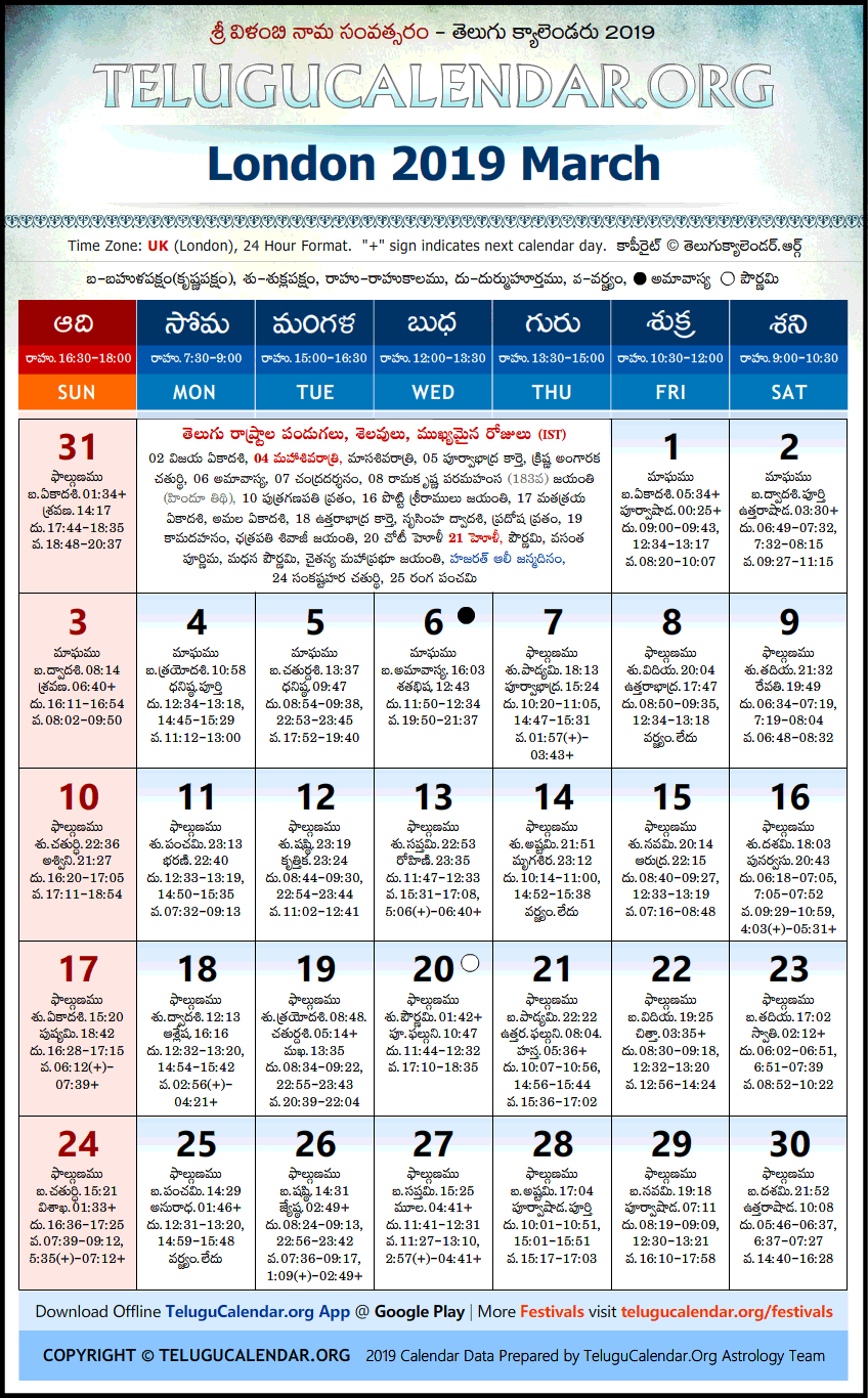 Telugu Calendar 2019 March, London