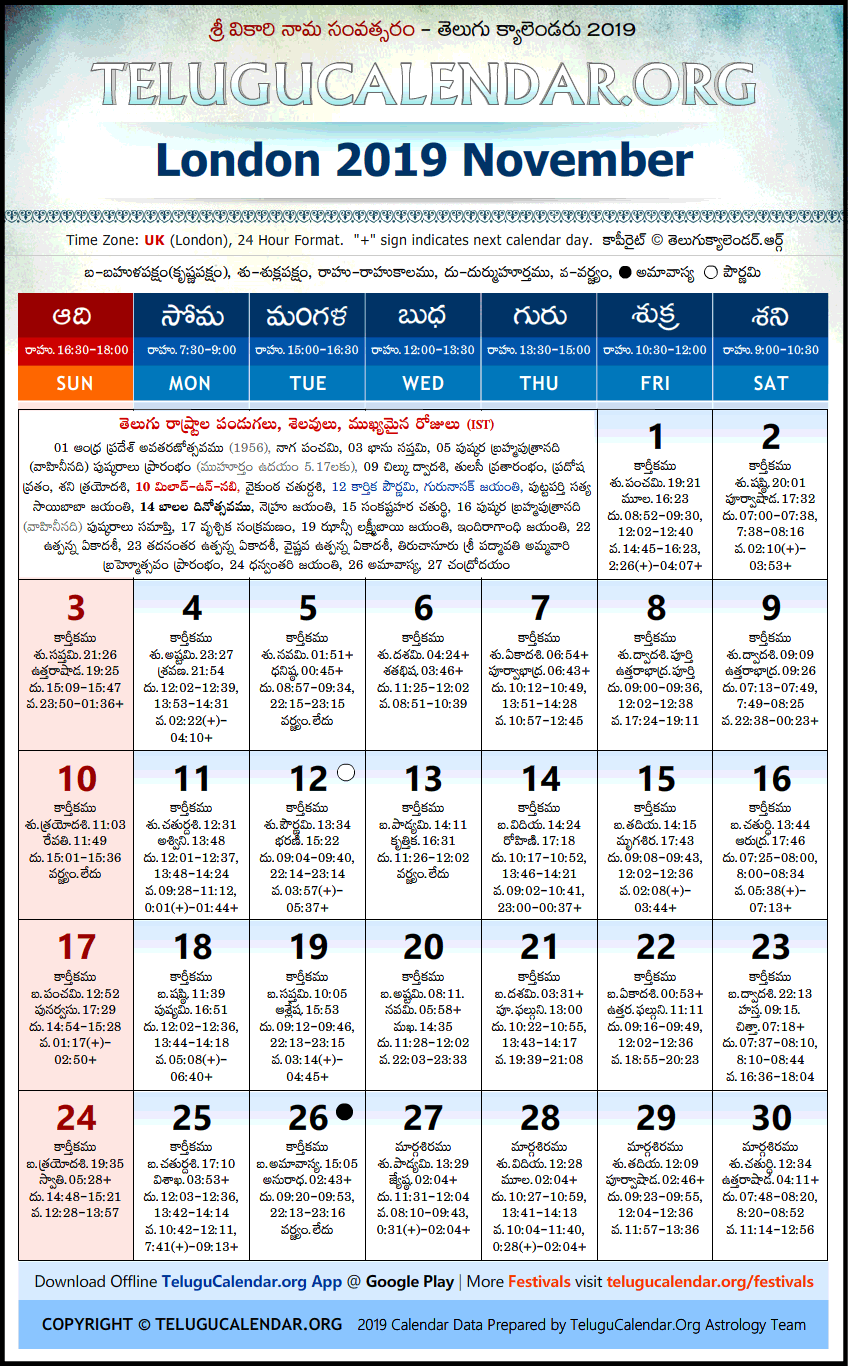 Telugu Calendar 2019 November, London