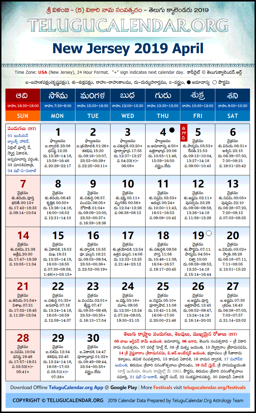 Telugu Calendar 2019 April, New Jersey