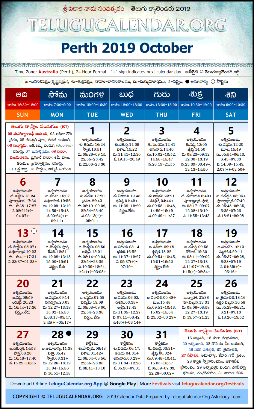 Telugu Calendar 2019 October, Perth