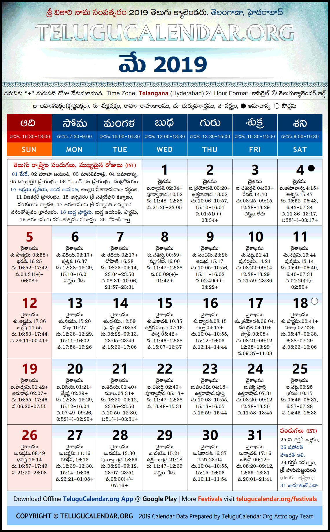 Telugu Chicago Calendar 2020 Top 10 Punto Medio Noticias | Telugu Calendar May 2019 Chicago