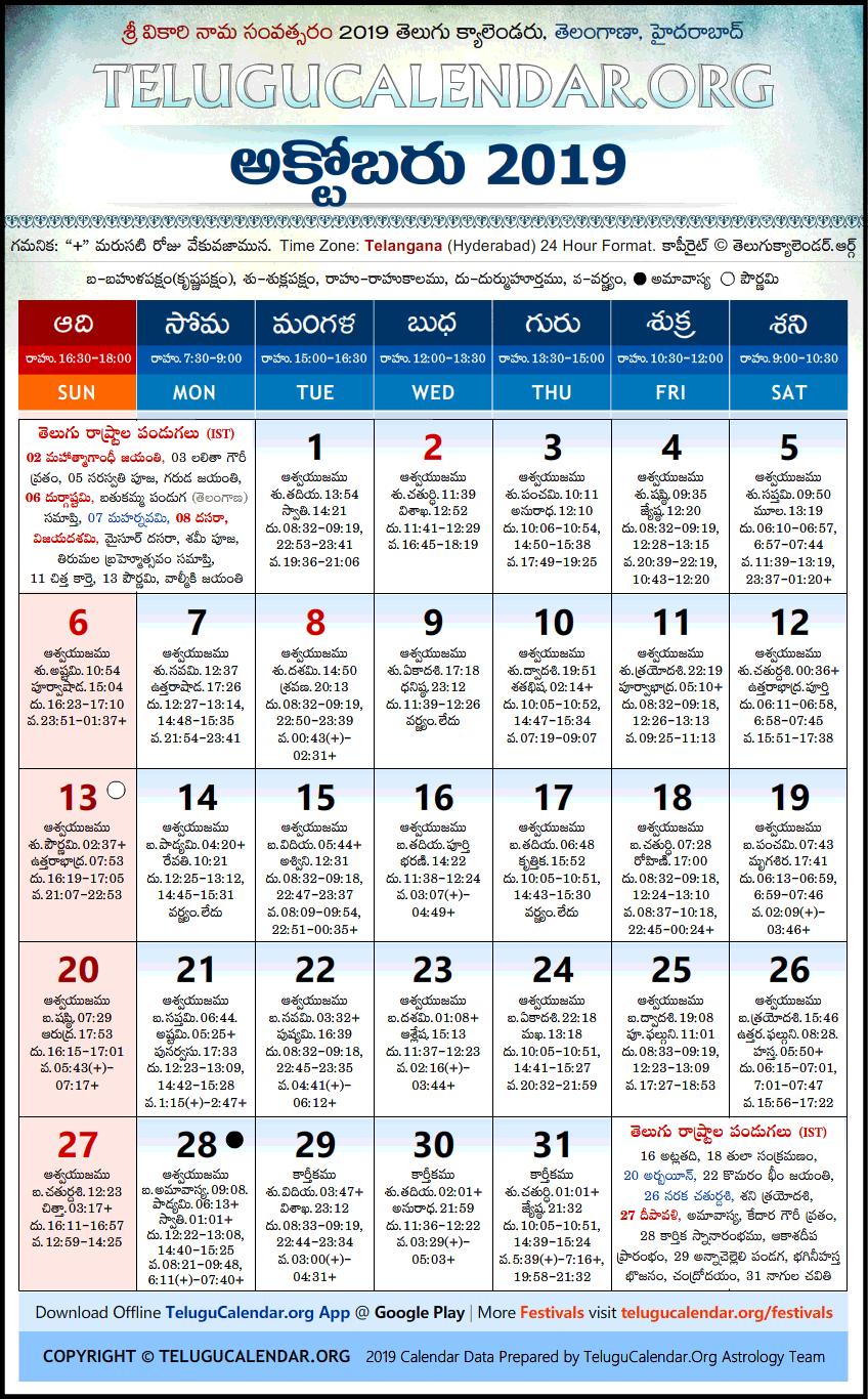 October Calendar 2019.Telangana Telugu Calendars 2019 October Festivals Pdf