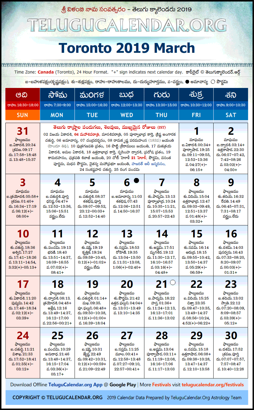 Telugu Calendar 2019 March, Toronto