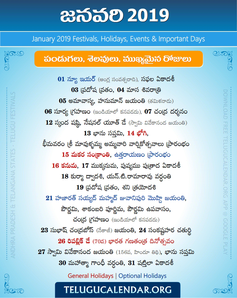 Telugu Festivals 2019 January