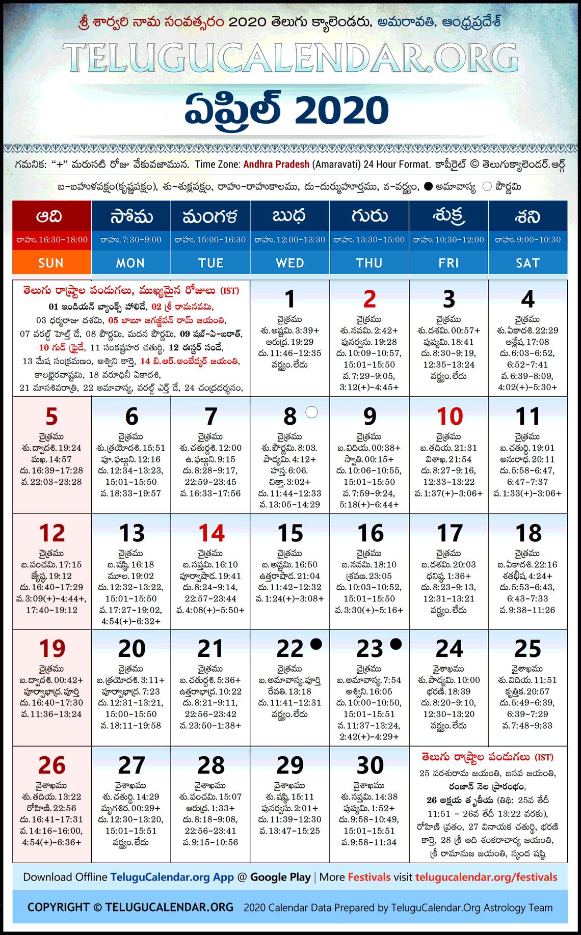 Andhra Pradesh | 2020 April Telugu Calendar High Resolution