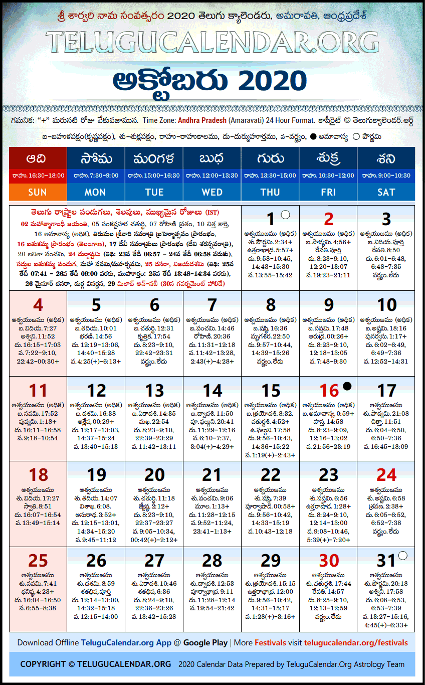 Telugu Calendar October 2021 Andhra Pradesh | Telugu Calendars 2020 October Festivals PDF