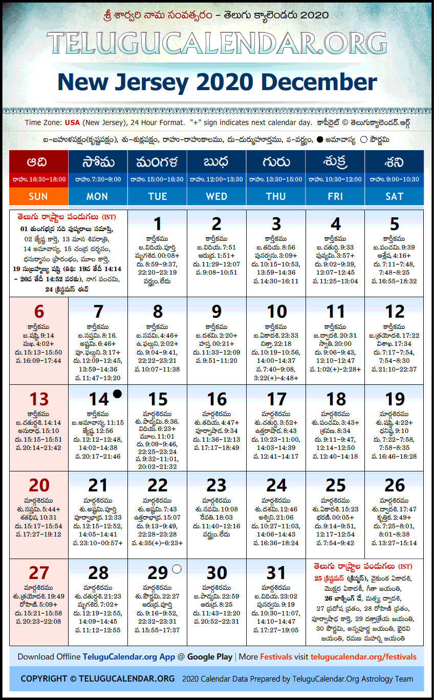 Telugu Calendar 2020 December, New Jersey
