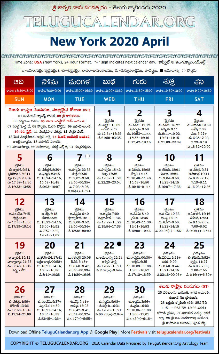 Telugu Calendar 2020 April, New York