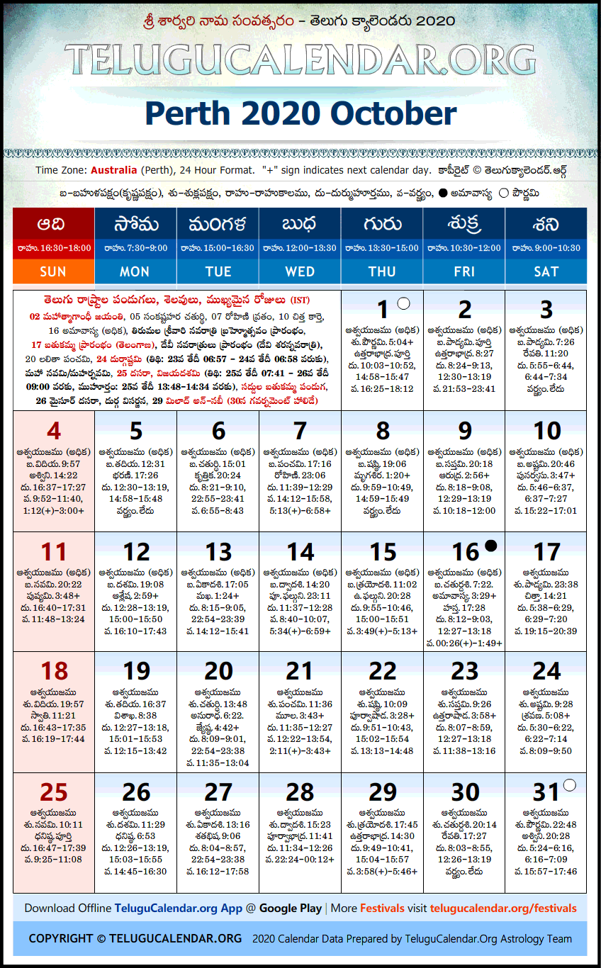 Telugu Calendar 2020 October, Perth