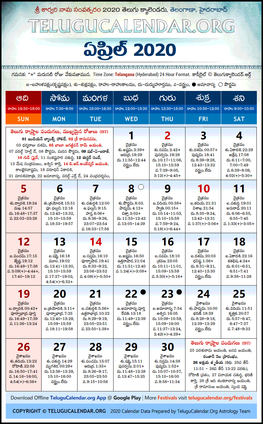 Telangana Telugu Calendars 2020 April Festivals Pdf