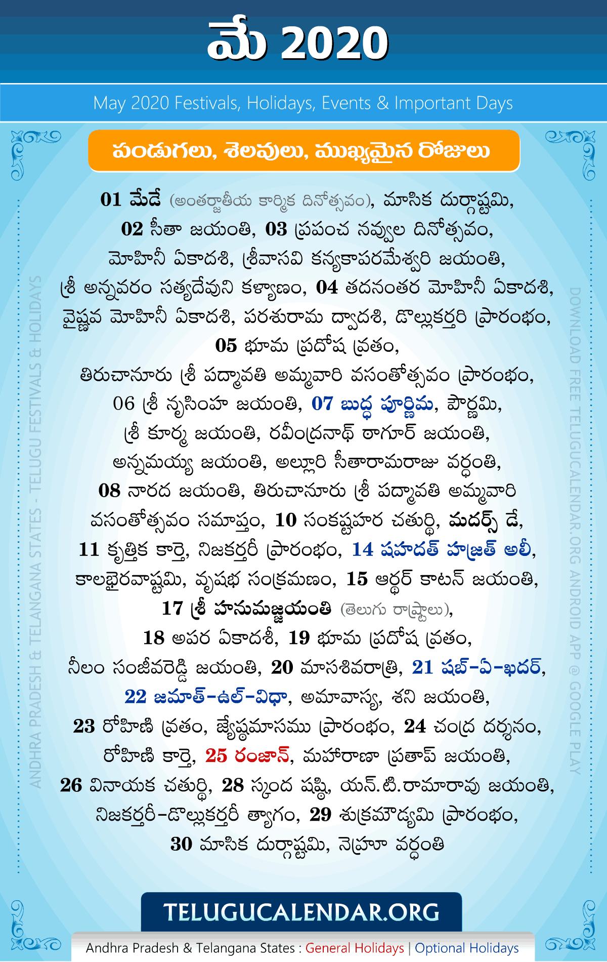 May 2020 Telugu Festivals, Holidays & Events | Telugu ...