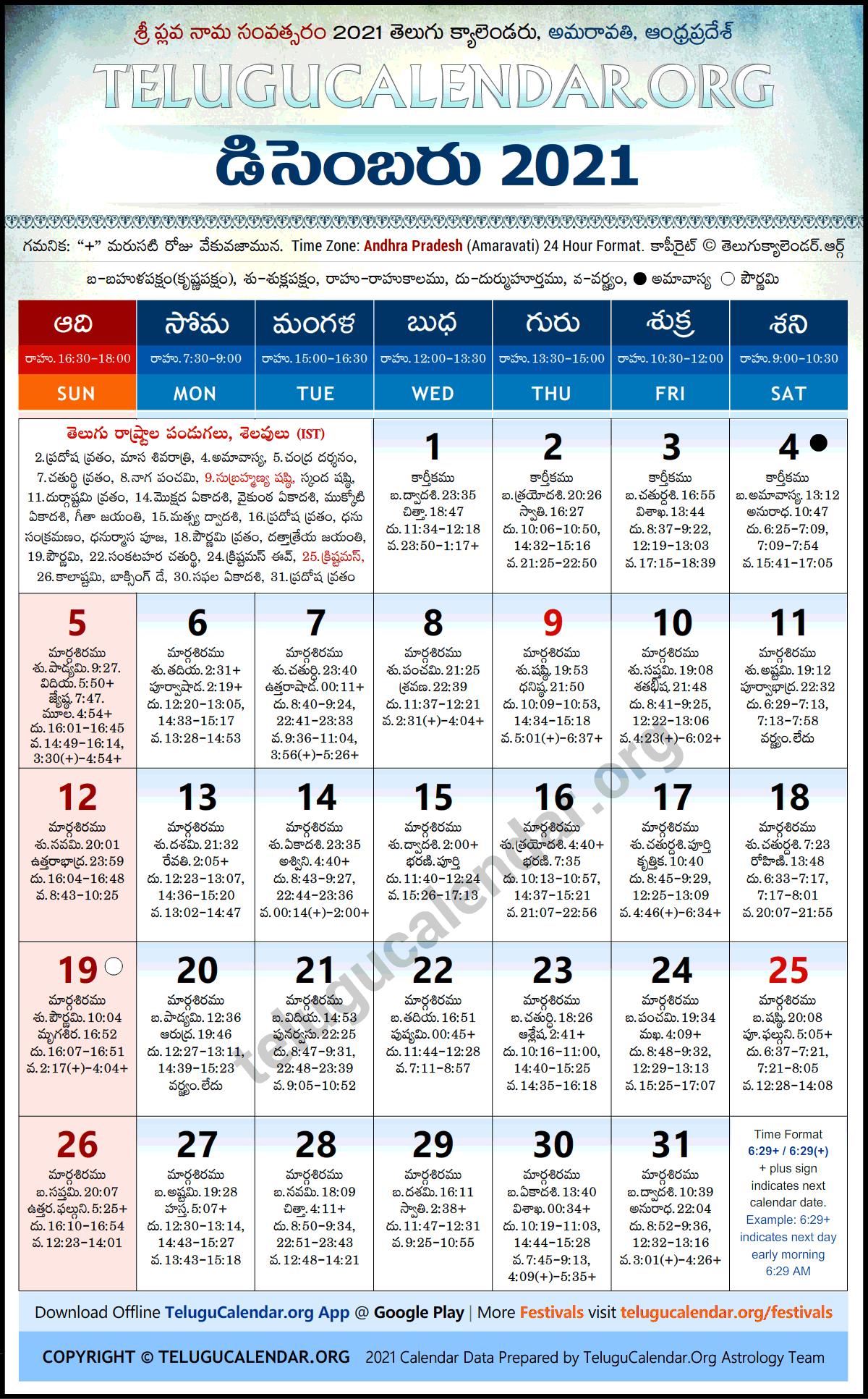 Andhra Pradesh 2021 December Telugu Calendar Festivals & Holidays