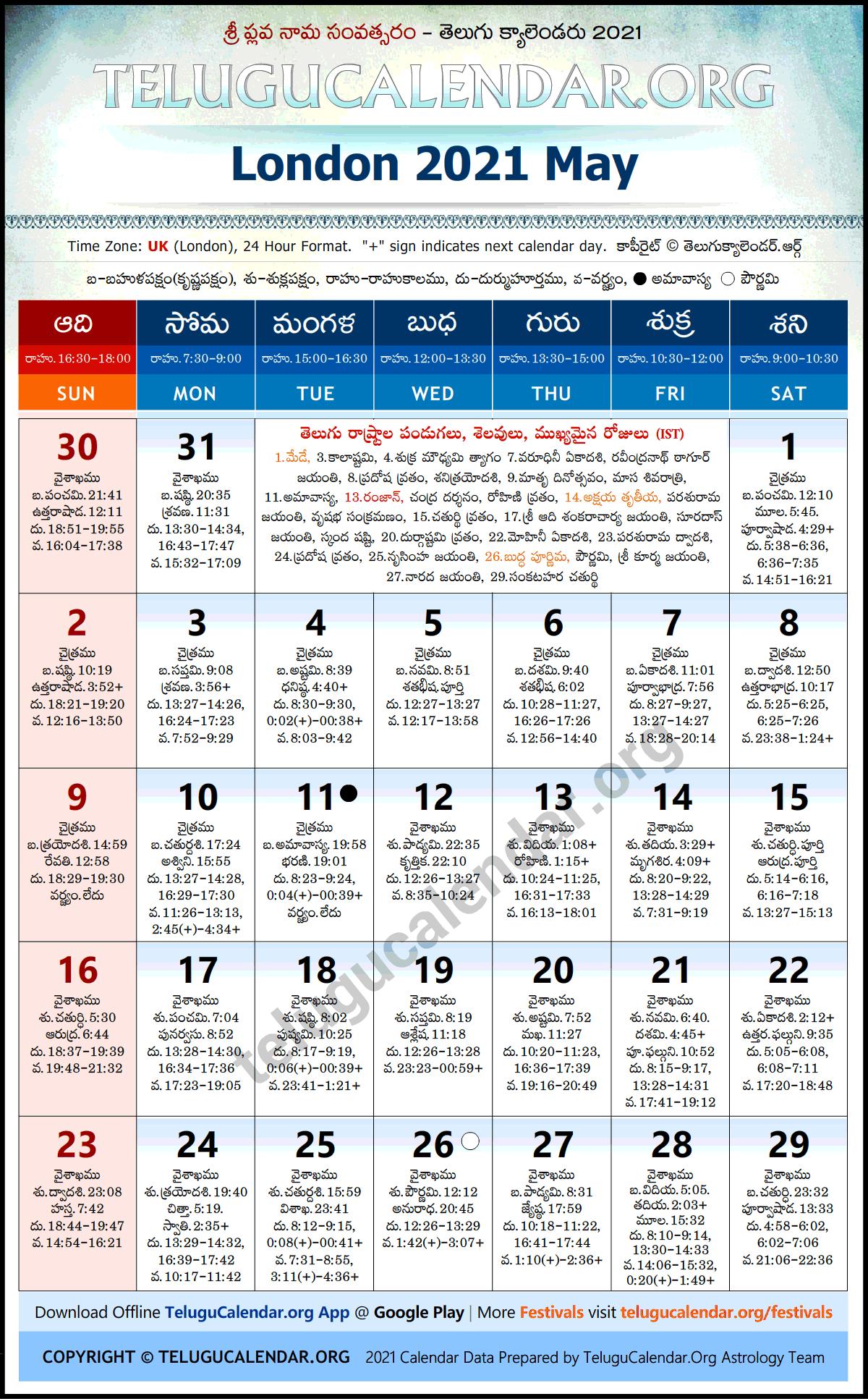 London 2021 May Telugu Calendar Festivals & Holidays