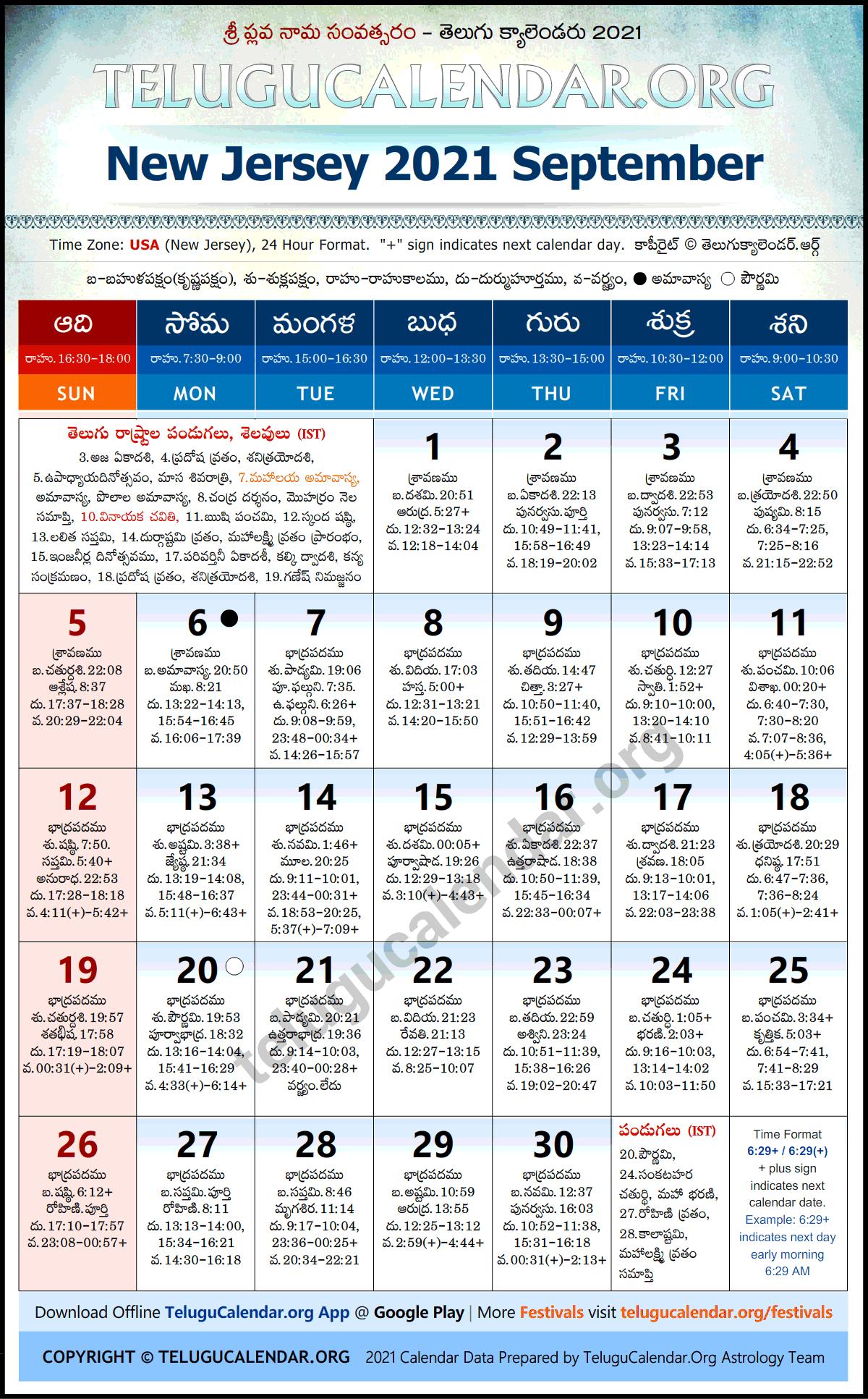 2021 Telugu Calendar Usa New Jersey 2021 September Telugu Calendar Festivals & Holidays