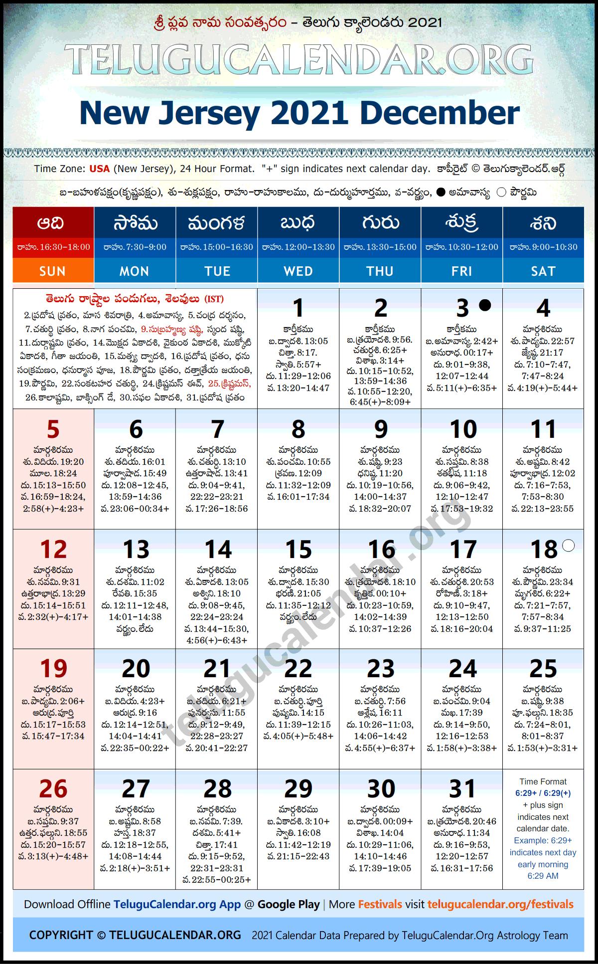 New Jersey Telugu Calendar 2022.New Jersey 2021 December Telugu Calendar Festivals Holidays