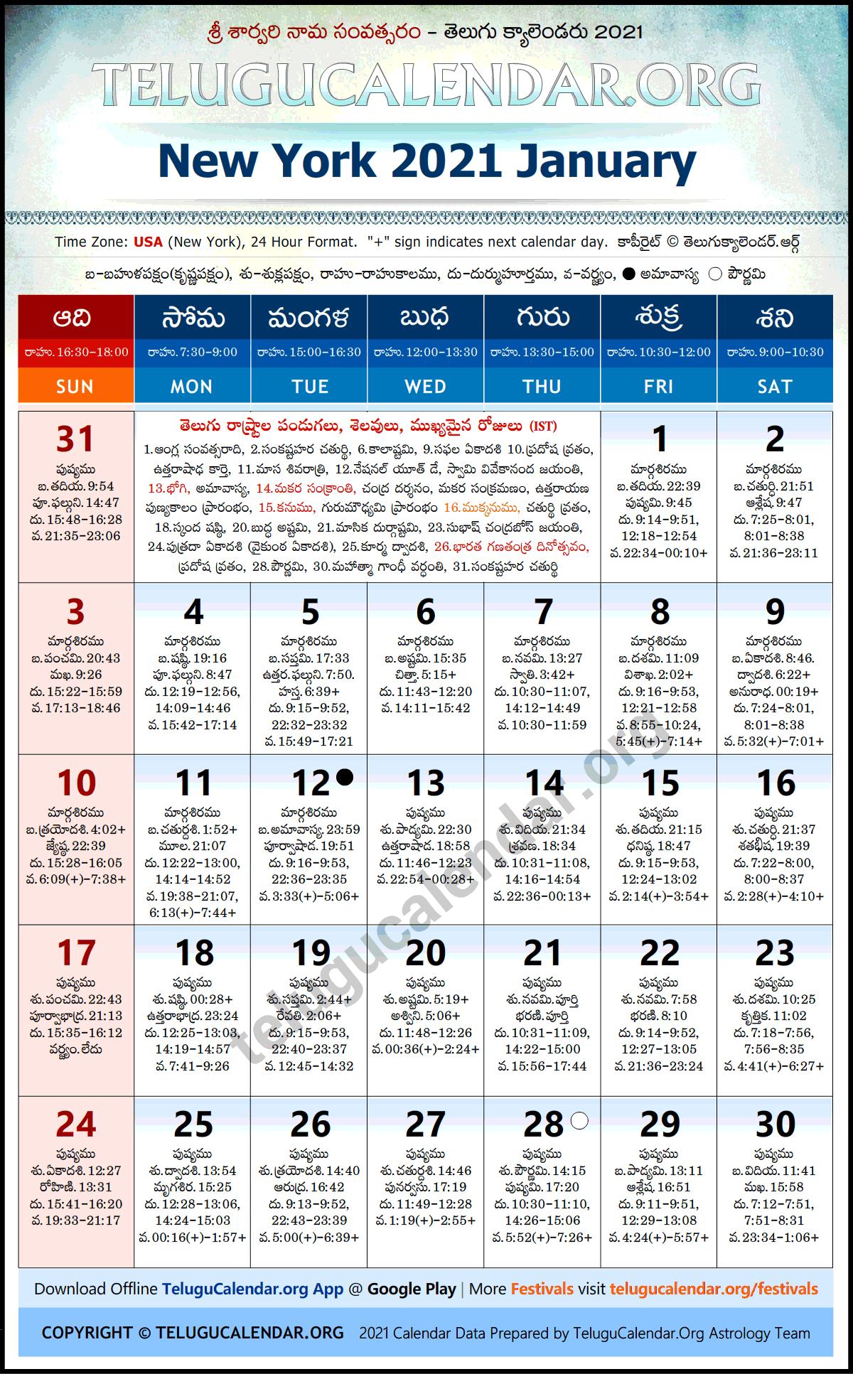 Usa Telugu Calendar 2022.New York 2021 January Telugu Calendar Festivals Holidays