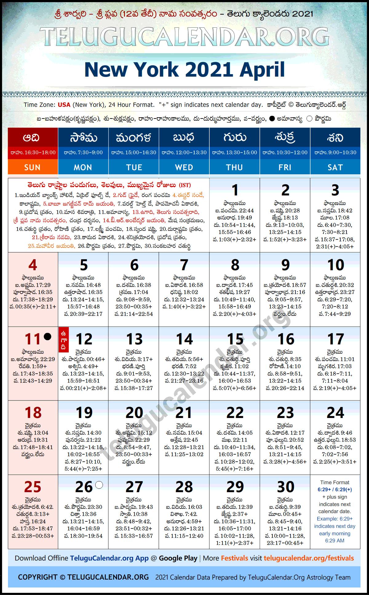 Usa Telugu Calendar 2022.New York 2021 April Telugu Calendar Festivals Holidays