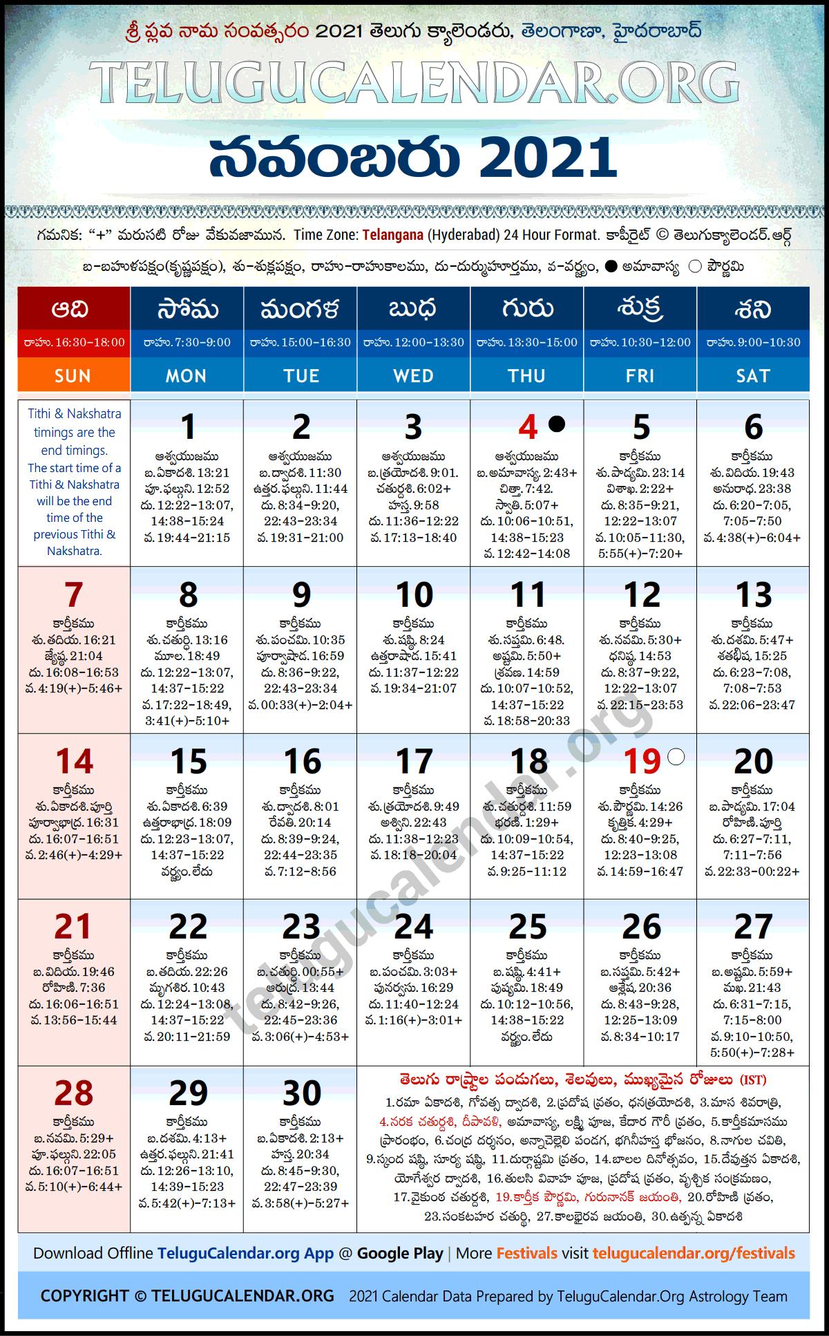Telangana 2021 November Telugu Calendar Festivals & Holidays