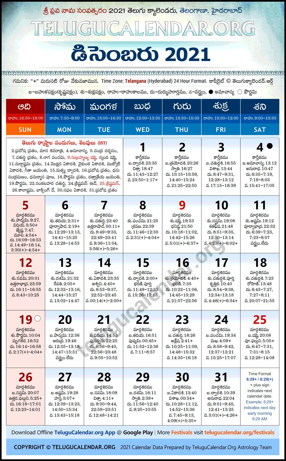 Telangana 2021 December Telugu Calendar Festivals & Holidays