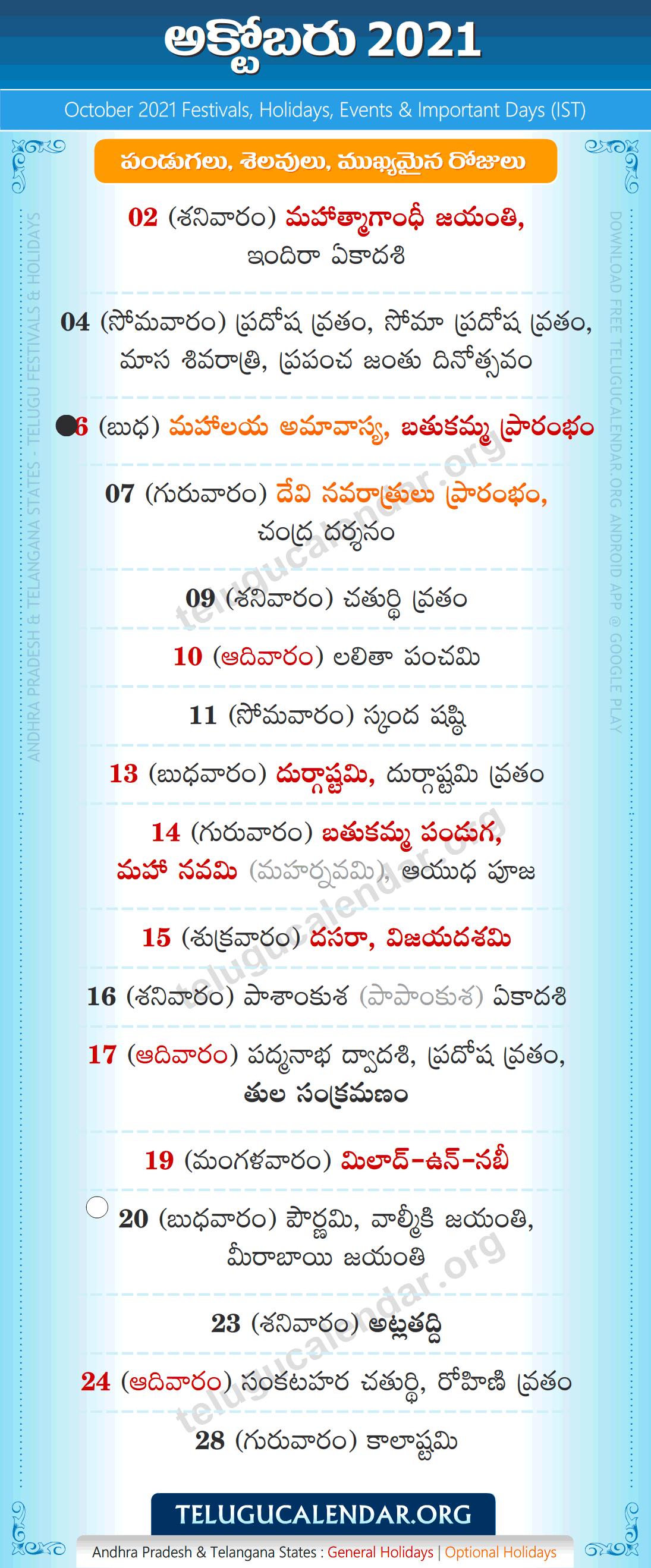 Telugu Calendar 2022 October.Telugu Festivals 2021 October